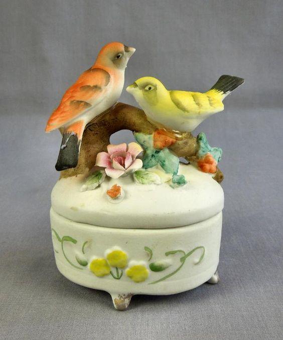 Vintage Porcelain Boxes   about Vintage Hand Painted Bisque Porcelain Song Birds Trinket Box ...