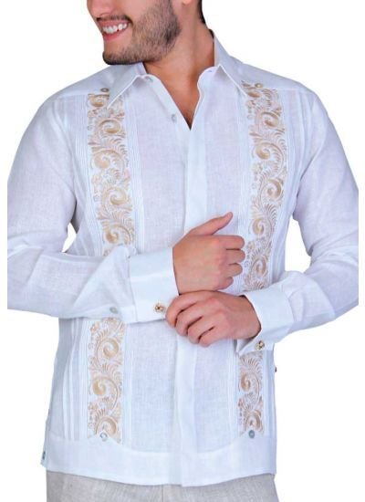"Shirt ""Celta"". Elegant and novel style. Shirt with fine details of fraying and hand embroidery. White/Blue Color."