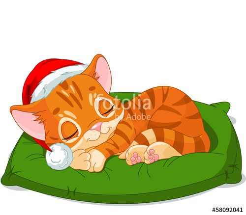 """Christmas Kitten Sleeping"" Stock image and royalty-free vector files on Fotolia.com - Pic 58092041"