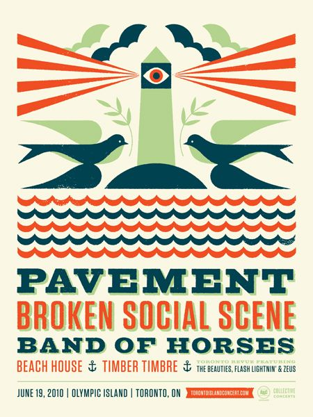 Pavement concert poster  with Broken Social Scene & Band of Horses  at Olympic Island- Toronto- Jun 19, 2010