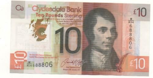 Collecters Item Clydesdale Bank 10 Banknote 2017 888 Plastic