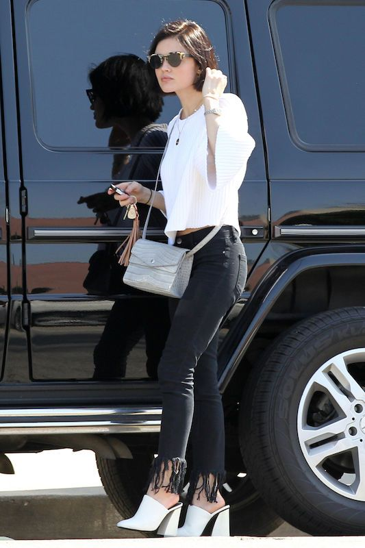 Lucy Hale rocks those white mules