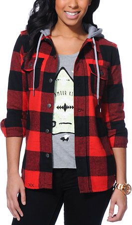Glamour Kills The Hendersons Red & Black Hooded Flannel Jacket at Zumiez : PDP