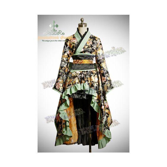 Gothic Wa Lolita Golden Chrysanthemum Brocade Kimono*5Pcs ❤ liked on Polyvore featuring dresses and lolita
