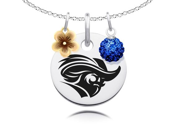 """Christopher Newport Captains Necklace with Flower Charm and Crystal Ball Accents. Officially Licensed. Standard Chain Length is 16"""". Circle Charm Size is 17mm (size of a dime). Crystal Ball Measures 5mm in Diameter. """"The indicia featured on this product is a protected trademark owned by the respective college or university.""""."""