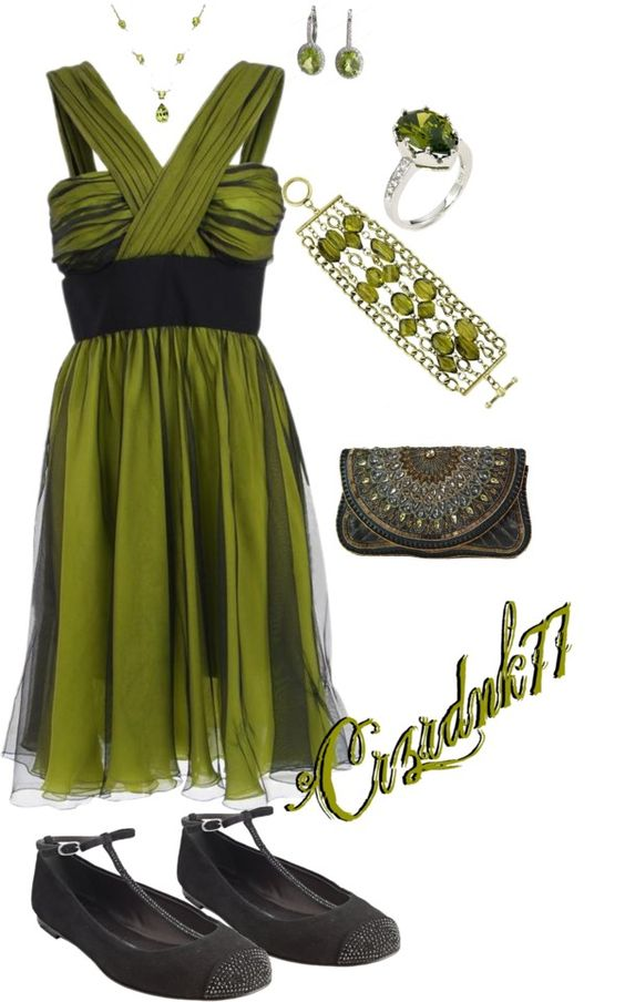 """Olivine and Black"" by crzrdnk77 on Polyvore"