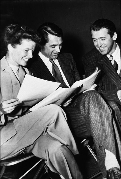Katharine Hepburn, James Stewart and Cary Grant on the set of The Philadelphia Story:
