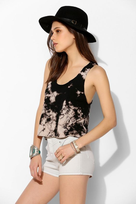 Staring At Stars Tech-Dye Terry Cloth Cropped Tank Top - Urban Outfitters
