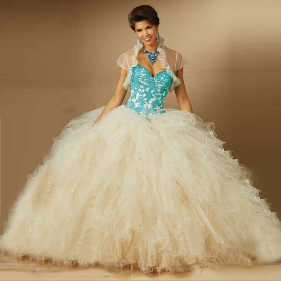2016 New Crystals Ruffles Ball Gown Organza With Appliques Quinceanera Dresses For Girls 15 Years Vestidos De 15 Anos Plus size $234