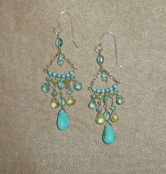 Chandelier earrings on sterling silver french wires with Sleeping Beauty Turquoise, sky blue Apatite and pale green Chrysoberyl drops and Rondelles. $140