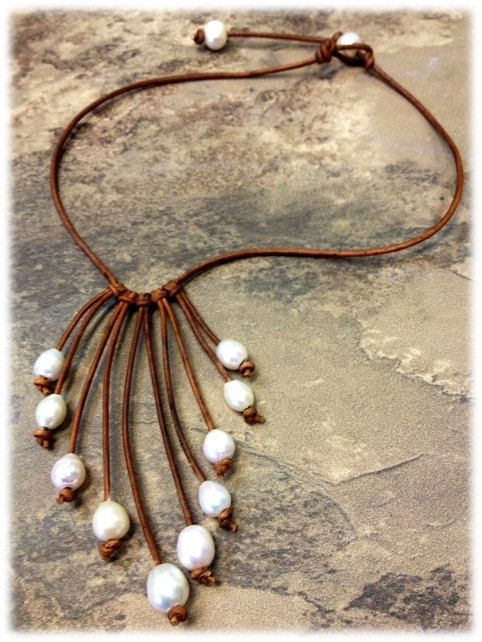 Leather and Pearl Necklace   by AdiDesigns: