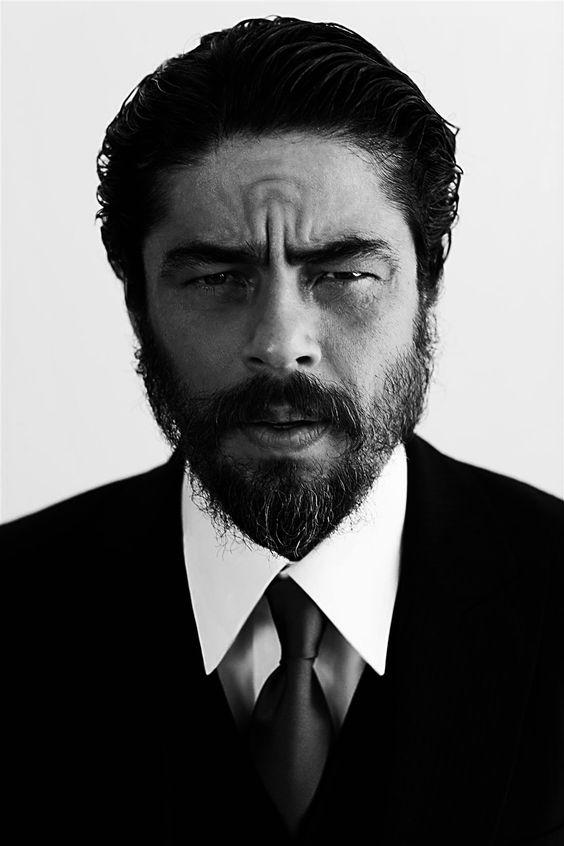 Benicio Monserrate Rafael Del Toro Sánchez by Greg Williams for Esquire < My gawd, Benicio looks extra guapo here!!