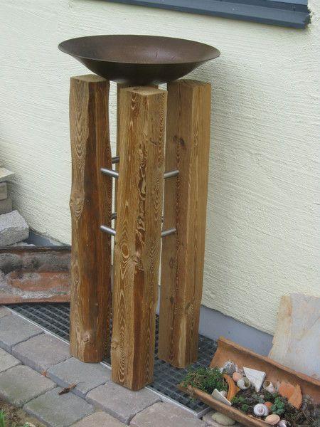 Pflanzsäule aus alten Balken + Schale + Edelstahl von autofan auf - gartendekoration aus holz