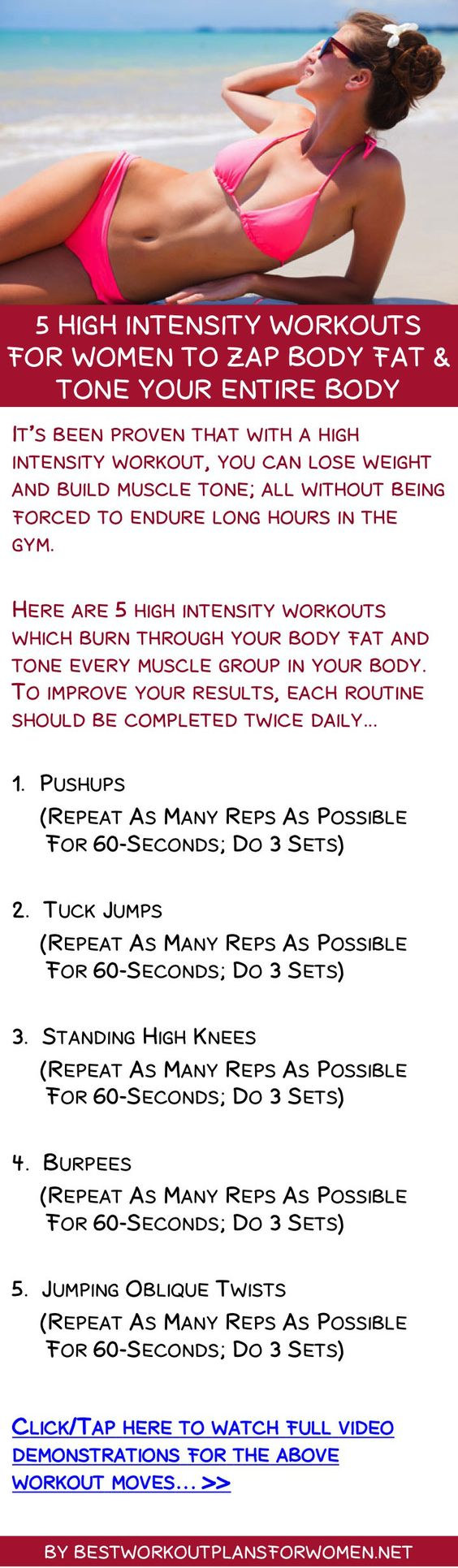 5 high intensity workouts for women to zap body fat & tone your entire body http://janice.automaticbodyhub.com