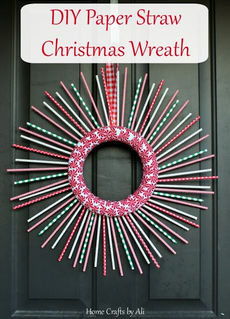 DIY Paper Straw Christmas Wreath - a cute, easy, and thrifty way to decorate your door