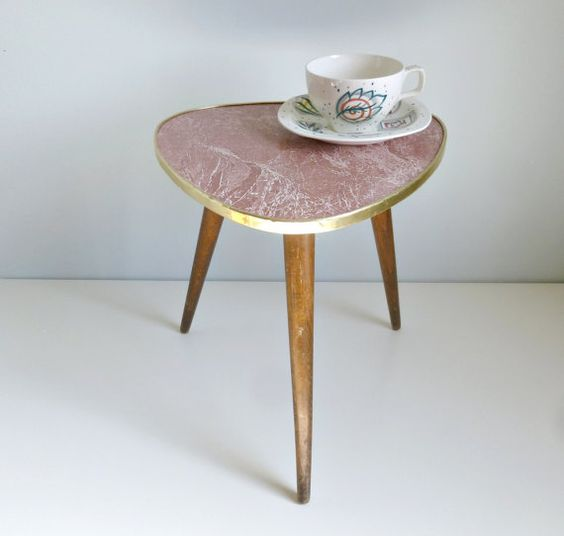 Mid century modern tripod coffee table red by for Red modern coffee table