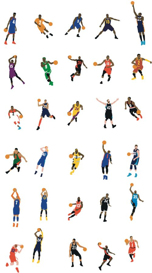 NBA players. I recognize Kyrie, Rajon, D-Cuz, Wall, Love, Lillard, Dirk, Lawson, Amare, Marc, Kobe, Melo, Steph, Harden, Pierce, KD, Griffin, PG, Timmy, LeBron and D-Rose. 21/30 :3