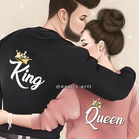 جمعة مباركه رسمتي رايكم Narjes Artt الجميلة X Moon X1 Cute Couple Drawings Cute Love Couple Cute Love Cartoons King and queen cartoon wallpaper