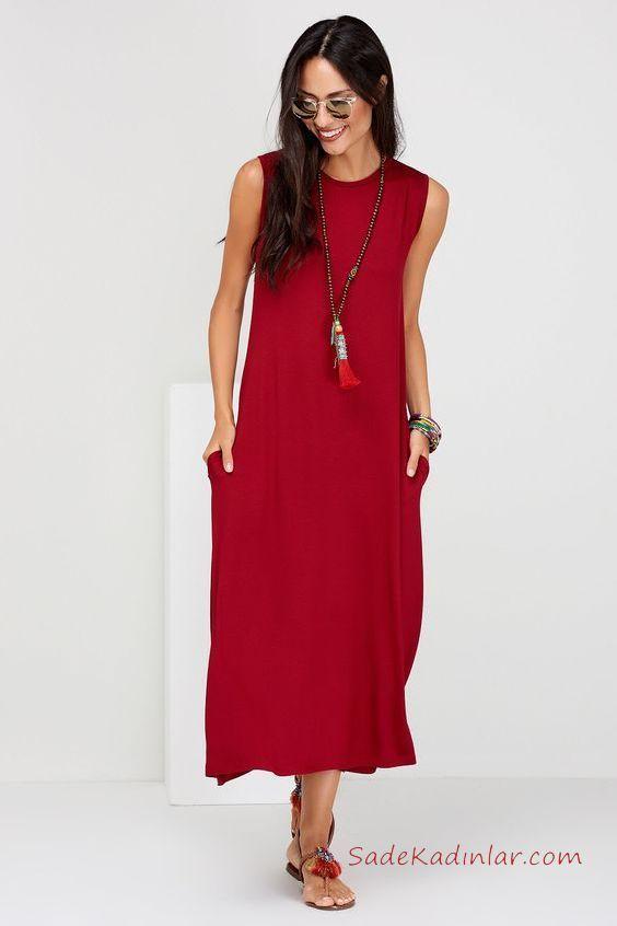 2020 Uzun Elbise Modelleri Kirmizi Penye Uzun Kolsuz Cepli Sade Elbise Modelleri Elbise Uzun Elbise