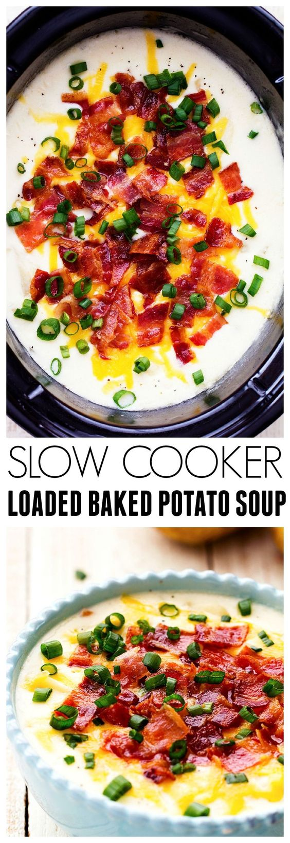 This is the BEST slow cooker Loaded Baked Potato Soup that you will ever have! Creamy and delicious and loaded with all of the goodness of a baked potato!