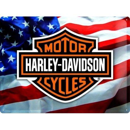 Plaque publicitaire métal Harley-Davidson drapeau américain