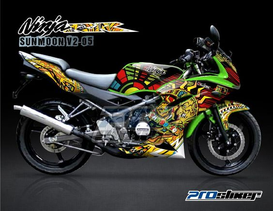 Striping Ninja RR New Putih Motif Sikspak Kuning Cutting - Mio decalsyamaha mio sporty green force lime color striping stickers