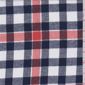 Navy blue, orange and whiteyarn dyed plaid. A mid to lightweight cotton flannel with a soft, brushed surface (single sided). Suitable for shirts and crafts. Machine washable.Compare to $10.00/yd
