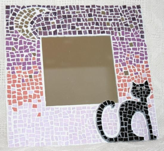 chat noir au clair de lune en mosaique modele mosaique artisanale mosaic pinterest. Black Bedroom Furniture Sets. Home Design Ideas