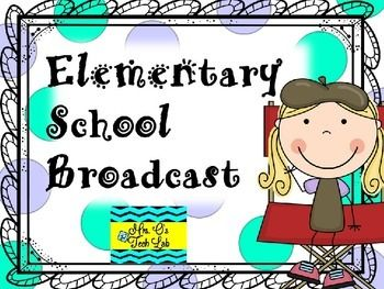 Elementary School Broadcast includes 34 slides with scripts and graphics to assist you in creating a daily student broadcast for your school news.  Some slides may be edited to fit your school broadcast needs.Included are steps to follow, job descriptions, equipment needed, a student application, sample scripts, sample slide graphics, and segment ideas.System requirements:  a closed circuit system for broadcasting on televisions throughout your school.Have fun with your student news!