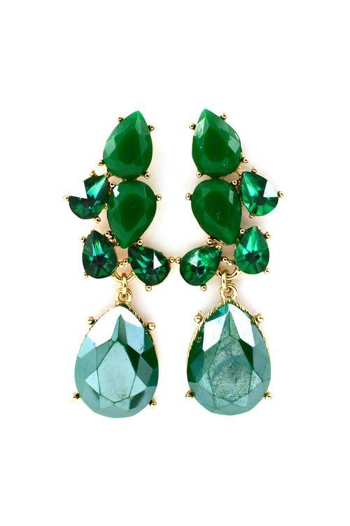 Beautiful Cascading Earrings in Pretty Greens.