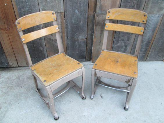 1950's Vintage Elementary School Chair Metal by CorvidaeCuriosity, $42.00