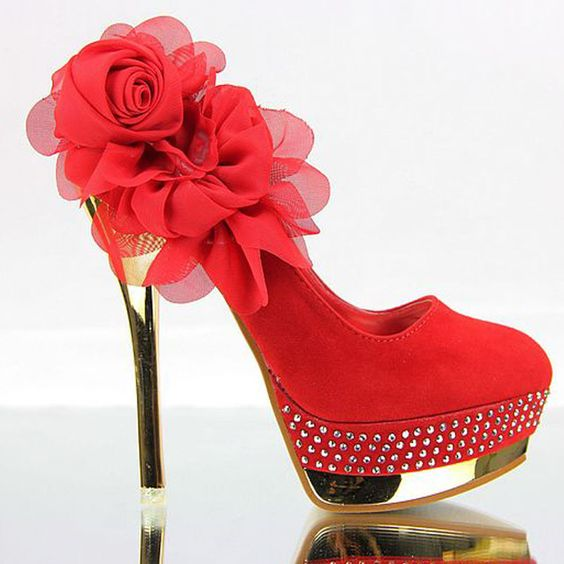 red sexy shoes | Rhinestone wedding shoes sexy flower red ...