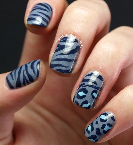 Nailpolis Museum of Nail Art | Blue Zebra and Leopard Animal Print by Emiline Harris