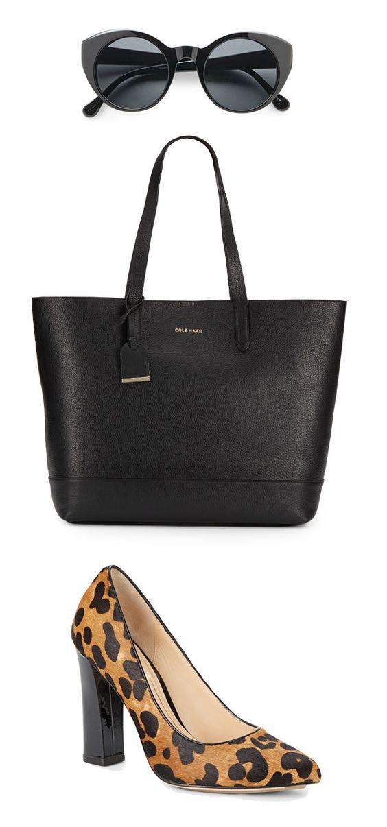 Classic with a wild twist. #Black #Leopard #Purse #Shoes #Sunglasses