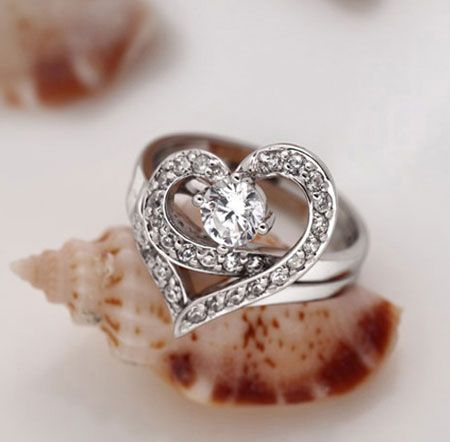 unique double heart promise rings for girlfriend womens