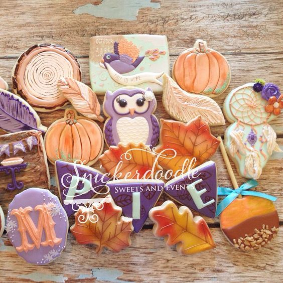 The full set (or at least what fits within crop)- I just love how all these colors really complimented each other for a fall birthday pie party!! @inflightideas celebrate like crazy girl!! #decoratedcookies #decoratedsugarcookies #edibleart #customcookies #fall #fallcolors #snickerdoodlesweets