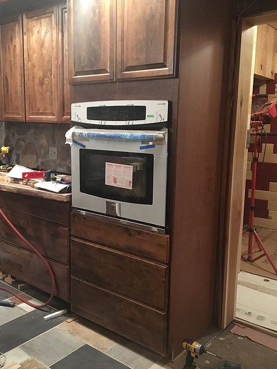 Wall Oven Walnut Cabinets Microwave Combo