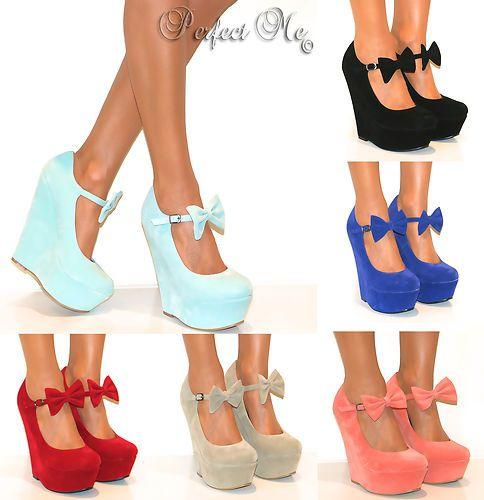 Wedges Black Suede Ankle Strap Pump | Bows, My spring and Wedge heels