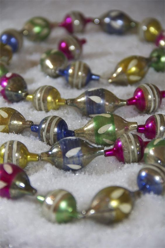 Multi bauble garland vintage style grandmothers and