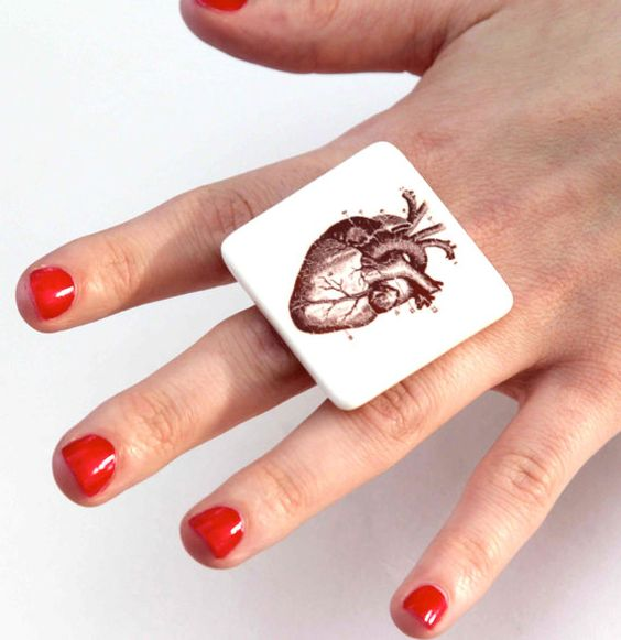 Anatomical Heart  Statement Ring Ceramic  big bold by StudioLeanne, $33.00