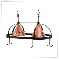 Stone County Ironworks Oval Dutch Lighted Pot Rack - Copper Shades