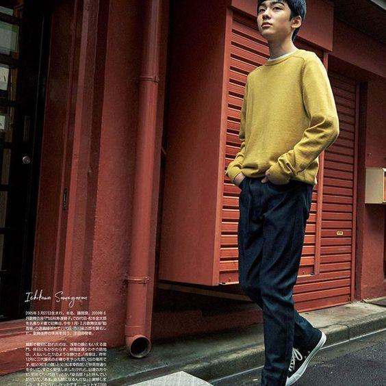 モデルのように街を歩く八代目市川染五郎のかっこいい画像