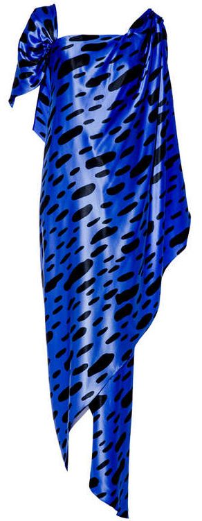 Arnold Scaasi - Robe de Soirée - Soie Bleu Dur à Taches Noires - Années 70