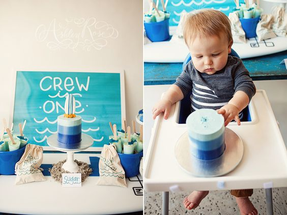 beach themed first birthday brunch, switch colors and change a few things around and it makes a great theme for Serena's bday