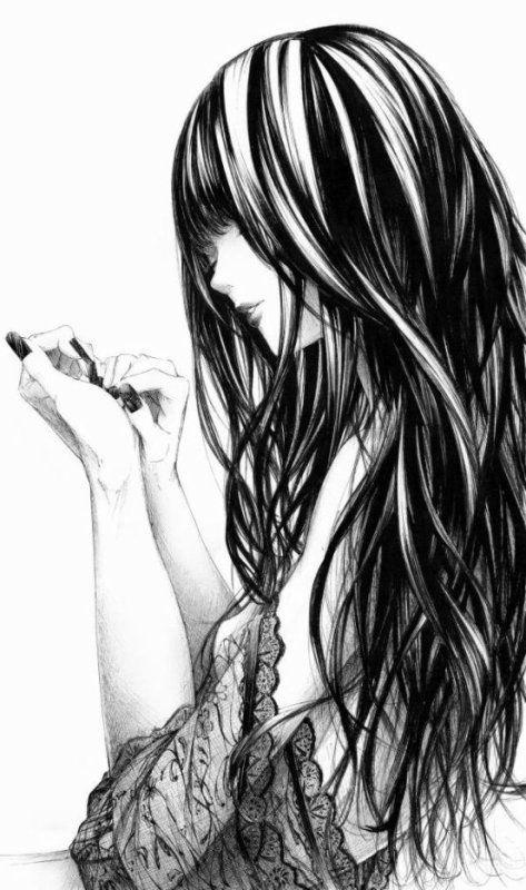 Fille Cheveux Long Noir Render Noir Et Blanc Pinterest Ongles Et Belle