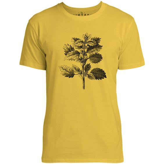 Mintage Wild Nettle Illustration Mens Fine Jersey T-Shirt (Lemon)