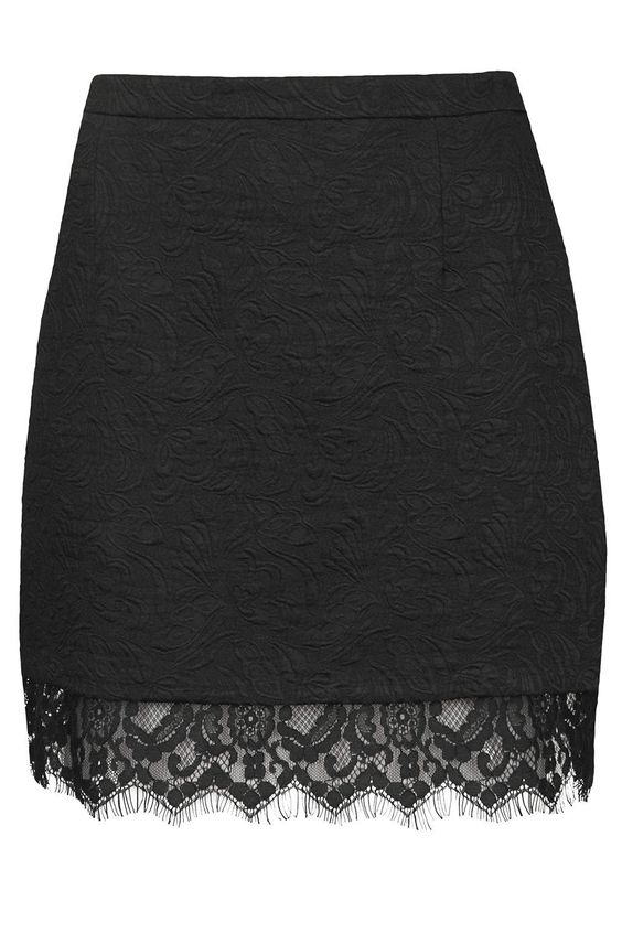 Textured Lace Hem Pelmet Skirt