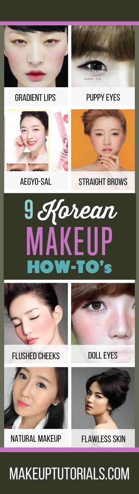 9 Korean Makeup Tutorials   How To Do Korean Makeup & Awesome Korean Makeup Products By Makeup Tutorials. http://makeuptutorials.com/makeup-tutorials-how-to-do-9-korean-makeup-looks/