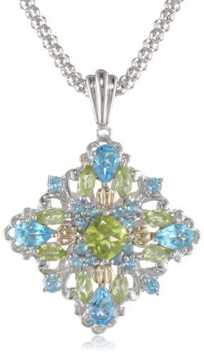 "S Sterling Silver and 14k Yellow Gold Licensed Blue Topaz and Peridot Pendant Necklace, 18"" Amazon Curated Collection,http://www.amazon.com/dp/B0043RTP3Y/ref=cm_sw_r_pi_dp_Upy6rb135DVHMNPZ"