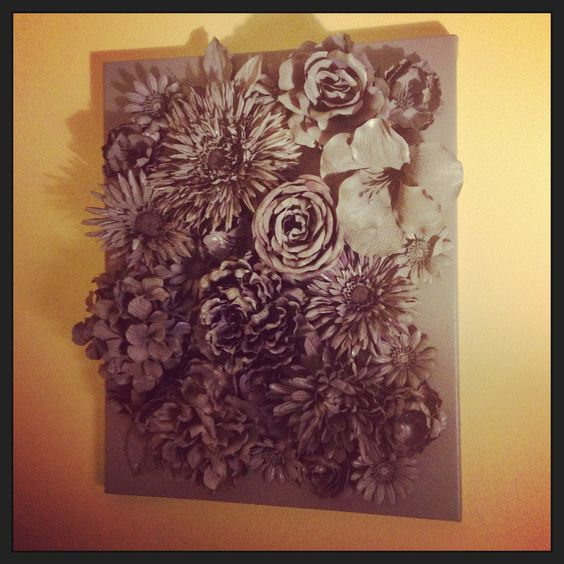 3D wall art: faux flowers hot-glued to canvas; spray-painted with ...